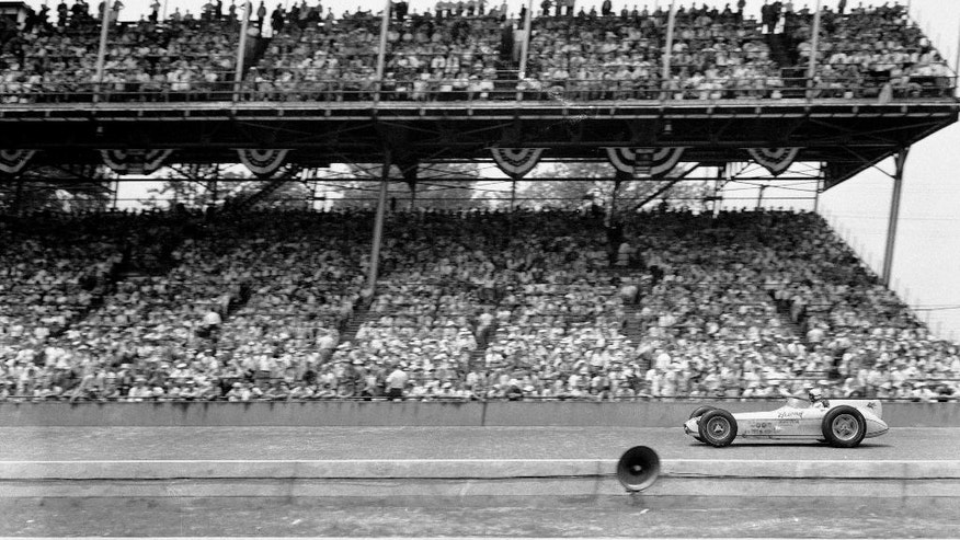 FILE - In this May 30, 1957, file photo, Sam Hanks wins the 41st Indianapolis 500 auto race at Indianapolis Motor Speedway in Indianapolis, Ind. (AP Photo/File)