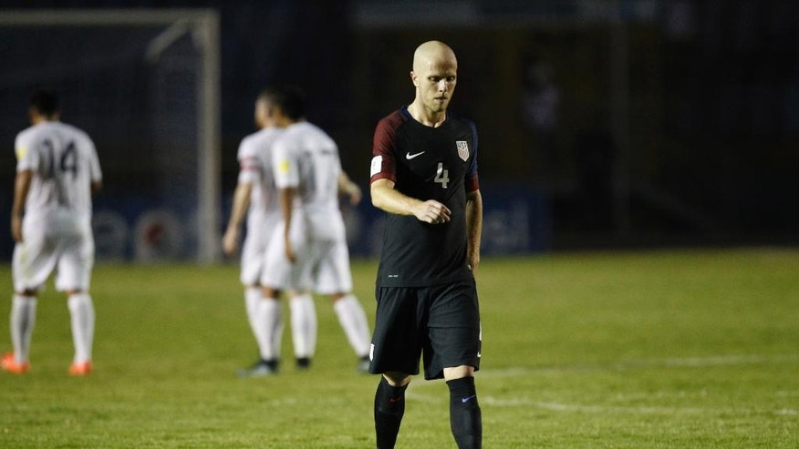 United States' Michael Bradley leaves the field after a 2018 Russia World Cup qualifying soccer match against  Guatemala at Mateo Flores Stadium in Guatemala City, Friday, March 25, 2016. Guatemala won 2-0. (AP Photo/ Moises Castillo)