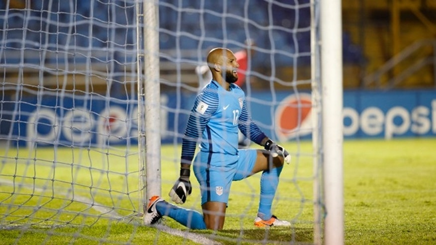 United States goalkeeper Tim Howard reacts after Guatemala scored its first goal during a 2018 Russia World Cup qualifying soccer match at Mateo Flores Stadium in Guatemala City, Friday, March 25, 2016. (AP Photo/Luis Soto)
