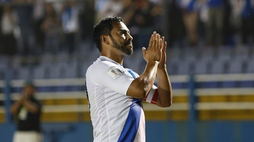 Guatemala's Carlos Ruiz celebrates after scoring  against United States during a 2018 Russia World Cup qualifying soccer match at Mateo Flores Stadium in Guatemala City, Friday, March 25, 2016. (AP Photo/ Luis Soto)