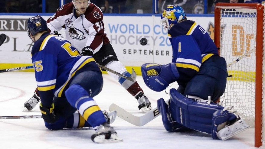Colorado Avalanche's Carl Soderberg, of Sweden, shoots past St. Louis Blues goalie Brian Elliott, right, and Colton Parayko, left, during the third period of an NHL hockey game Tuesday, March 29, 2016, in St. Louis. The Blues won 3-1. (AP Photo/Jeff Roberson)