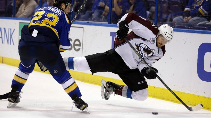 Colorado Avalanche's John Mitchell, right, falls after being checked by St. Louis Blues' Kevin Shattenkirk during the third period of an NHL hockey game Tuesday, March 29, 2016, in St. Louis. The Blues won 3-1. (AP Photo/Jeff Roberson)