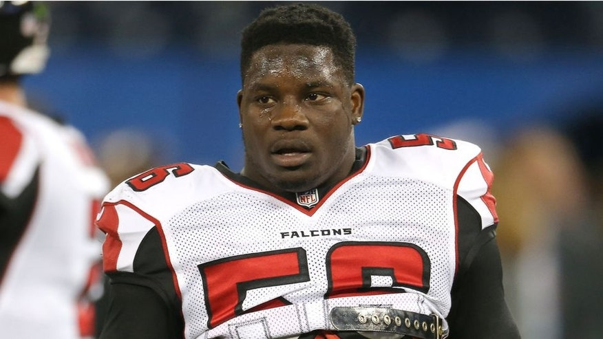 TORONTO, ON - DECEMBER 1: Sean Weatherspoon #56 of the Atlanta Falcons warms up before an NFL game against the Buffalo Bills at Rogers Centre on December 1, 2013 in Toronto, Ontario, Canada. (Photo by Tom Szczerbowski/Getty Images)