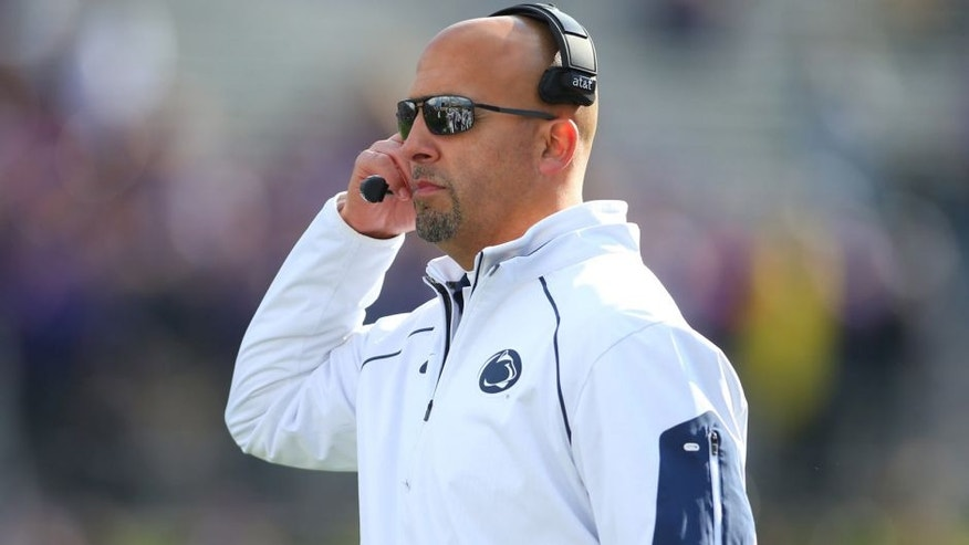 Nov 7, 2015; Evanston, IL, USA; Penn State Nittany Lions head coach James Franklin during the game against the Northwestern Wildcats at Ryan Field. Mandatory Credit: Caylor Arnold-USA TODAY Sports