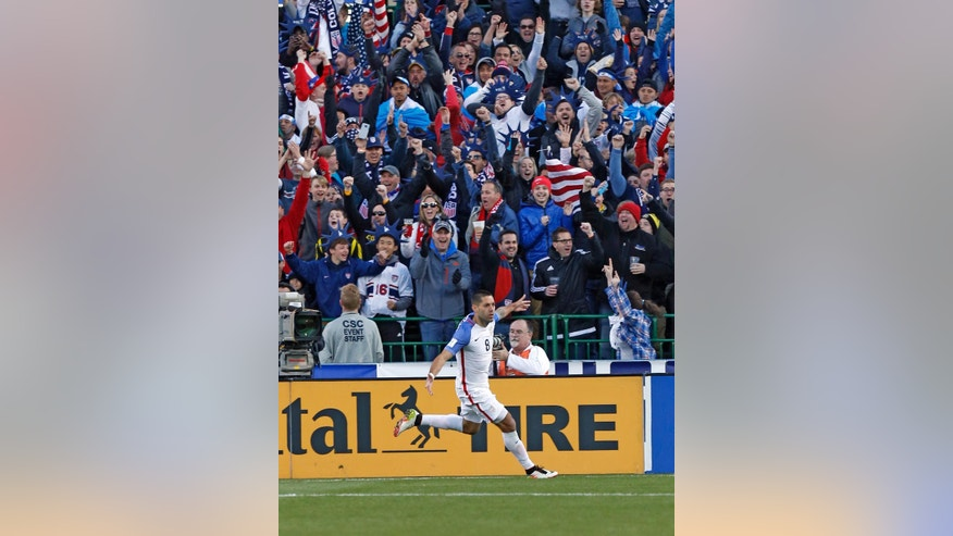 United States' Clint Dempsey celebrates his goal against Guatemala during the first half of a World Cup qualifying soccer match Tuesday, March 29, 2016, in Columbus, Ohio. (AP Photo/Jay LaPrete)