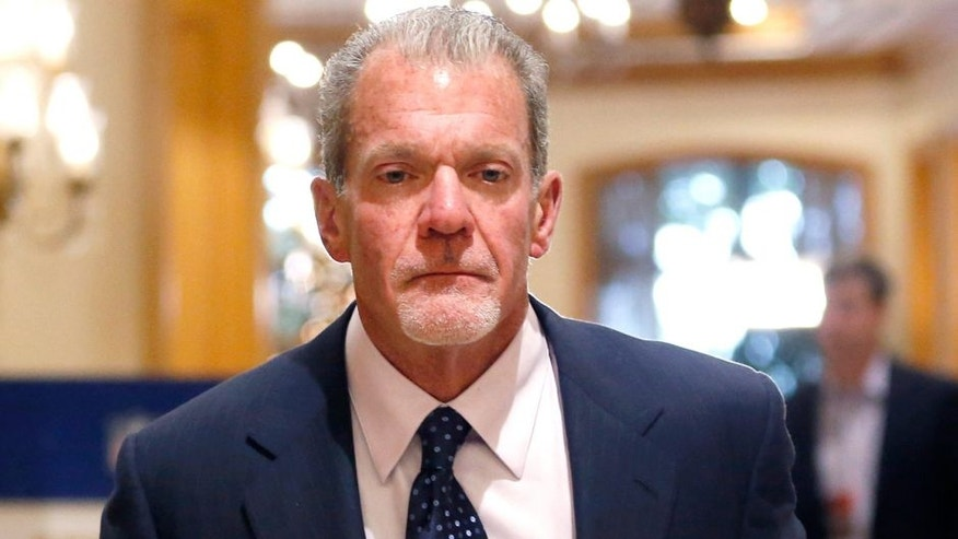 Dec 10, 2014; Irving, TX, USA; Indianapolis Colts owner Jim Irsay at the NFL meetings at Las Colinas Four Seasons Hotel. Mandatory Credit: Tim Heitman-USA TODAY Sports