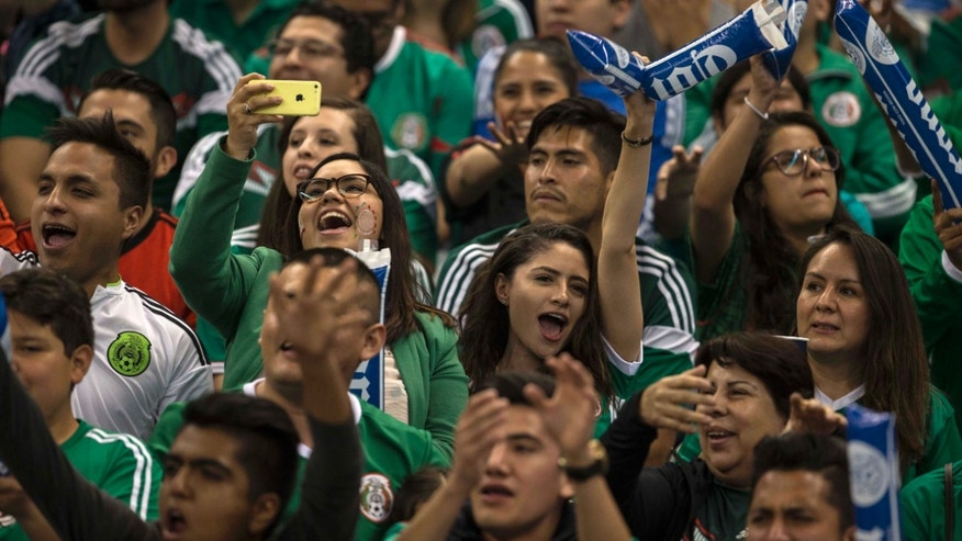 Mexico fans shout anti-gay chants during a World Cup qualifying soccer match against Canada in Mexico City, Tuesday, March 29, 2016. Fans in Mexico are known for yelling a gay slur during kicks by opposing goalkeepers, something that gained global attention during the 2014 World Cup and prompted a FIFA disciplinary probe. (AP Photo/Christian Palma)