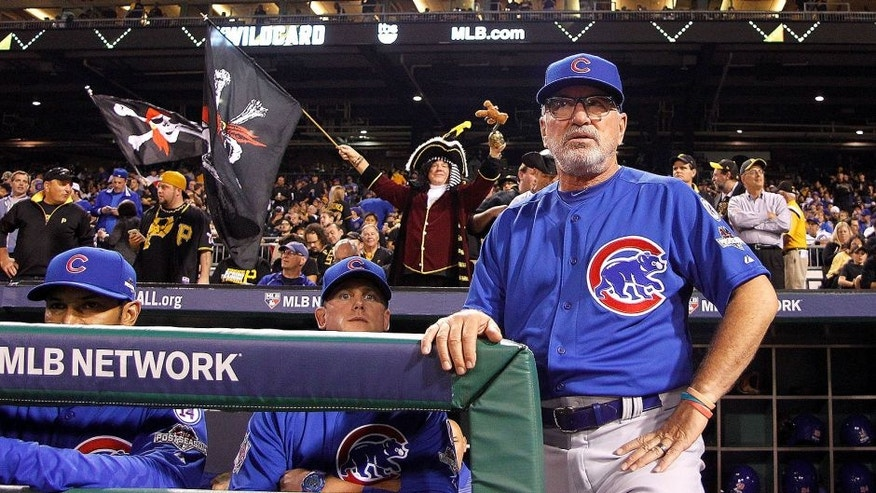 PITTSBURGH, PA - OCTOBER 07: Manager Joe Maddon #70 of the Chicago Cubs looks on prior to the National League Wild Card game between the Pittsburgh Pirates and the Chicago Cubs at PNC Park on October 7, 2015 in Pittsburgh, Pennsylvania. (Photo by Justin K. Aller/Getty Images)