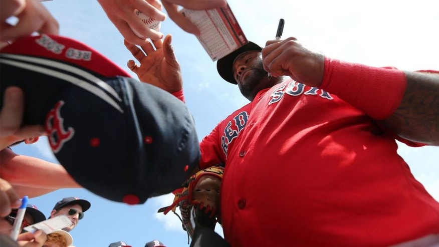 Boston Red Sox third baseman Pablo Sandoval (48) signs autographs before the game against the Pittsburgh Pirates at JetBlue Park. Mandatory Credit: Kim Klement-USA TODAY Sports
