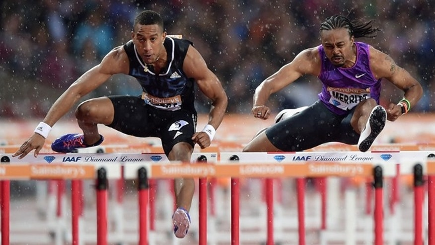 Orlando Ortega and Aries Merritt at the Mens 110m Heat on July 24, 2015 in London, England.