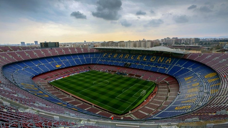 BARCELONA, SPAIN - MARCH 16: General view from the top of the stadium before the UEFA Champions League match between FC Barcelona and Arsenal at Camp Nou on March 16, 2016 in Barcelona, Spain. (Photo by Catherine Ivill - AMA/Getty Images)