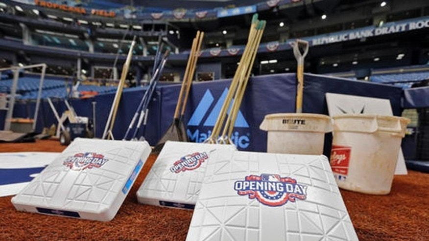 New, special opening day bases wait to be put in place before a baseball game between the Tampa Bay Rays and the Toronto Blue Jays, Sunday, April 3, 2016, in St. Petersburg, Fla. (AP Photo/Chris O'Meara)
