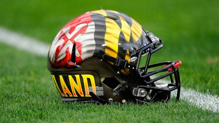 Nov 1, 2014; University Park, PA, USA; General view of a Maryland Terrapins helmet on the field prior to the game against the Penn State Nittany Lions at Beaver Stadium. Maryland defeated Penn State 20-19. Mandatory Credit: Rich Barnes-USA TODAY Sports