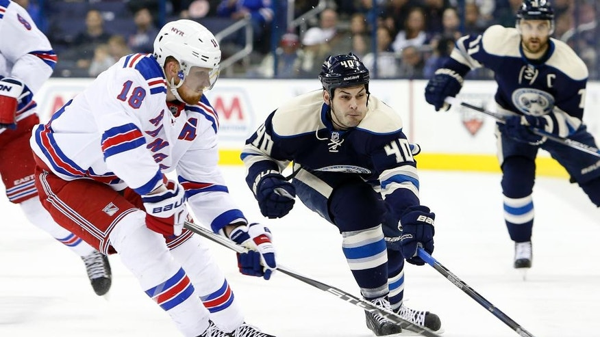New York Rangers' Marc Staal, left, and Columbus Blue Jackets' Jared Boll chase the puck during the second period of an NHL hockey game Monday, April 4, 2016, in Columbus, Ohio. (AP Photo/Jay LaPrete)