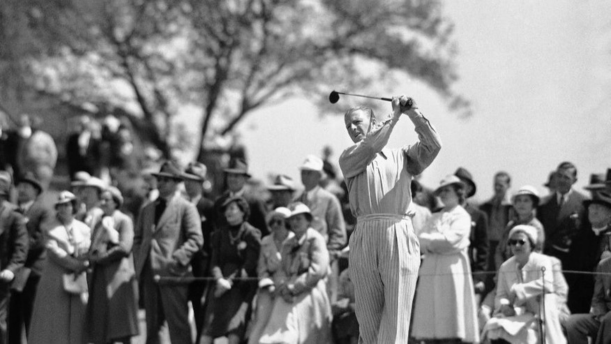 FILE - In this April 1, 1937 file photo, Craig Wood drives in the opening round of the Masters golf tournament in Augusta, Ga. Wood endured more heartache in the majors than anyone before he finally won. (AP Photo/File)