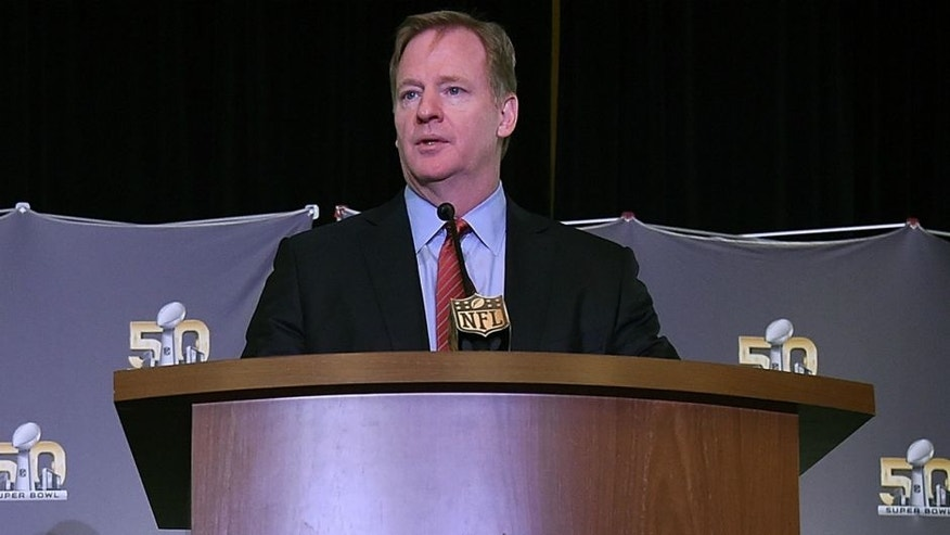 NFL commissioner Roger Goodell addresses the media during the Super Bowl 50 MVP trophy presentation at the Moscone Center West on February 8, 2016 in San Francisco, California. Von Miller #58 of the Broncos was the games MVP. (Photo by Thearon W. Henderson/Getty Images)