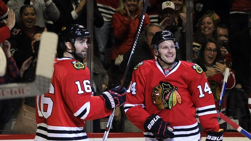 Chicago Blackhawks right wing Richard Panik (14) celebrates his goal against the Arizona Coyotes with Chicago Blackhawks left wing Andrew Ladd (16) in the first period of an NHL hockey game Tuesday, April 5, 2016, in Chicago. (AP Photo/David Banks)