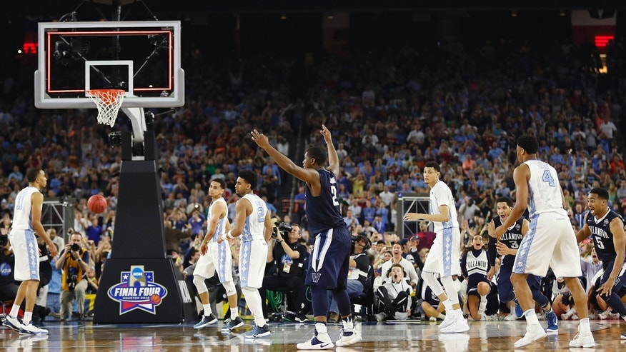 April 4, 2016: Villanova forward Kris Jenkins (2) reacts to his shot at the end of the NCAA men's college basketball championship game against North Carolina