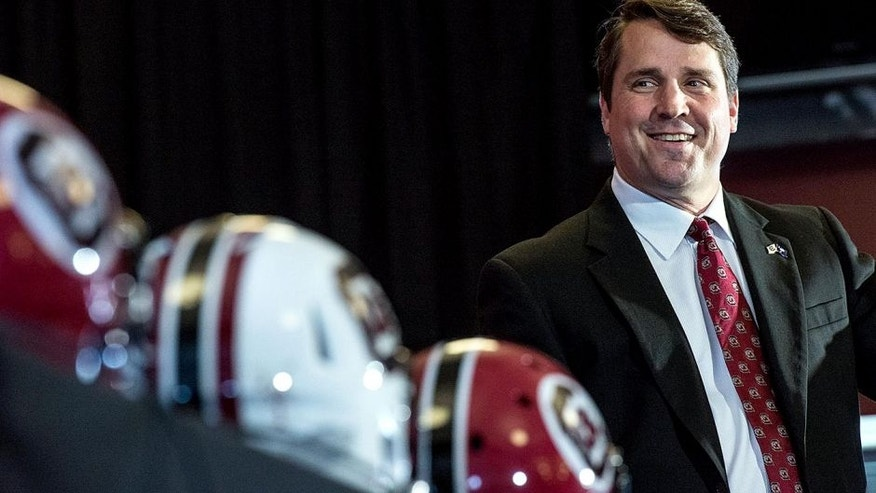 New South Carolina NCAA college head football coach Will Muschamp talks to the media at Williams Brice Stadium Monday, Dec. 7, 2015, in Columbia, S.C. (AP Photo/Sean Rayford)