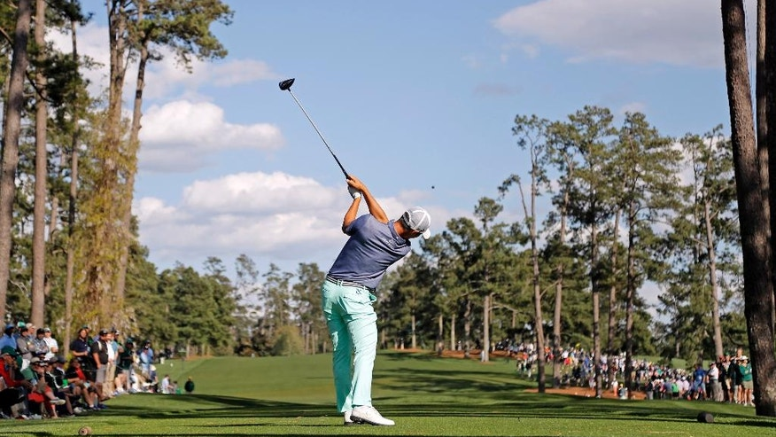 Danny Lee, of New Zealand, tees off on the 17th hole during the first round of the Masters golf tournament Thursday, April 7, 2016, in Augusta, Ga. (AP Photo/Jae C. Hong)