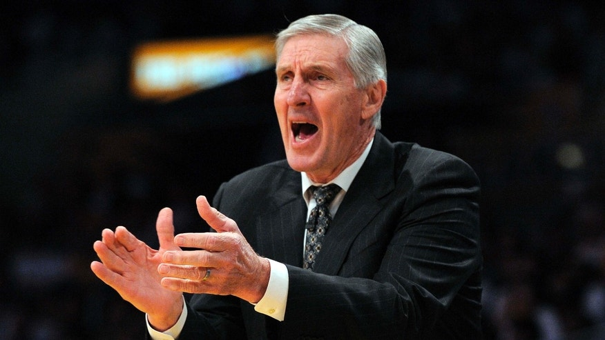 FILE - In this Sunday, May 2, 2010, file photo, Utah Jazz coach Jerry Sloan yells to his team during the first half of Game 1 of a second-round NBA basketball playoff series against the Los Angeles Lakers in Los Angeles.