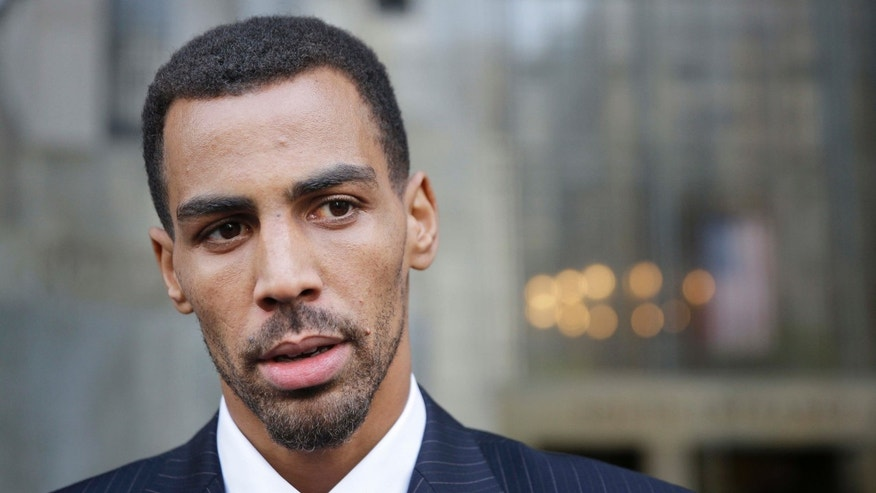 FILE - In this Oct. 9, 2015 file photo, Thabo Sefolosha talks to reporters outside criminal court in New York.