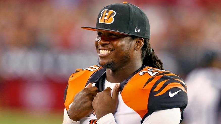 Aug 24, 2014; Glendale, AZ, USA; Cincinnati Bengals safety Reggie Nelson (20) smiles against the Arizona Cardinals at University of Phoenix Stadium. Mandatory Credit: Mark J. Rebilas-USA TODAY Sports