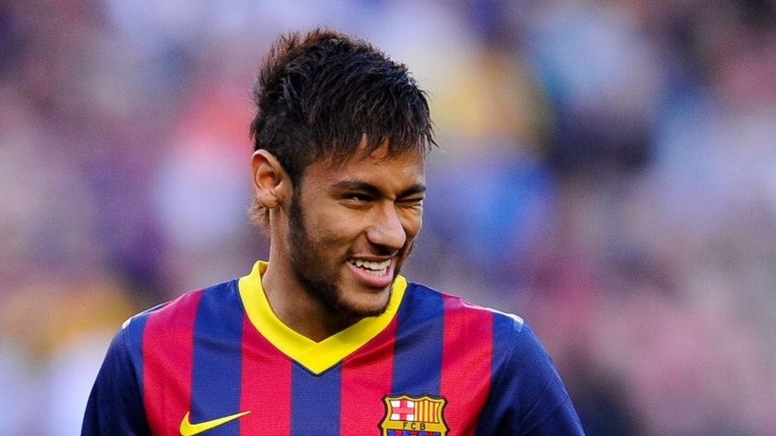 BARCELONA, SPAIN - APRIL 05: Neymar of FC Barcelona winks at his teammates during the La Liga match between FC Barcelona and Real Betis Balompie at Camp Nou on April 5, 2014 in Barcelona, Spain. (Photo by David Ramos/Getty Images)