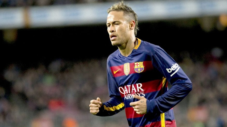 BARCELONA, SPAIN - FEBRUARY 3 : Barcelona's Neymar Jr in action during the Spanish Copa del Rey (King's Cup) semifinals first leg football match between FC Barcelona and Valencia Club de Futbol at the Camp Nou Stadium in Barcelona, Spain on February 3, 2016. (Photo by Albert Llop/Anadolu Agency/Getty Images)