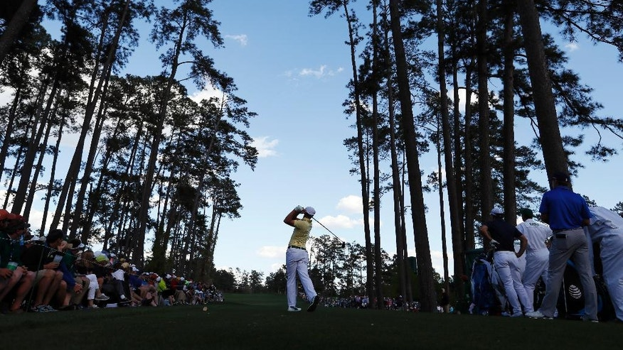 Amateur Bryson DeChambeau tees off on the 17th hole during the second round of the Masters golf tournament Friday, April 8, 2016, in Augusta, Ga. (AP Photo/David J. Phillip)