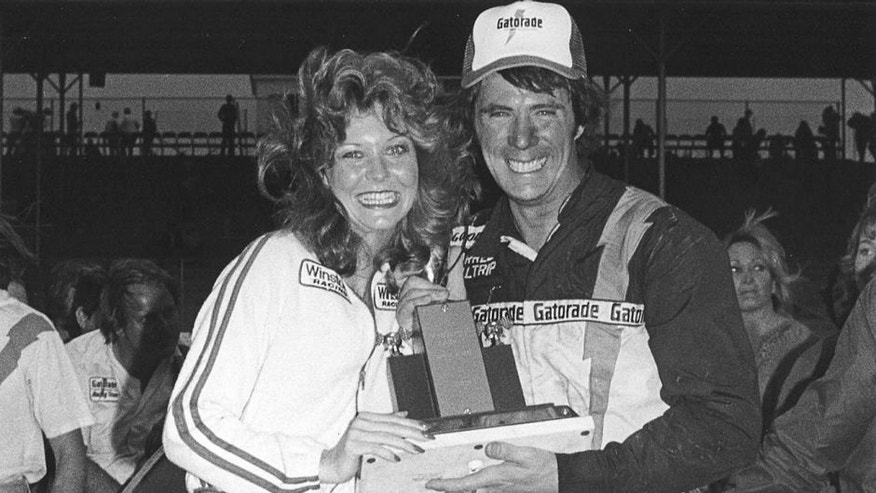 DARLINGTON, SC - APRIL 8, 1979: Darrell Waltrip and Richard Petty traded paint, as the pair exchanged the lead four time on the final lap of the 1979 Rebel 500 at Darlington. (Photo by ISC Archives via Getty Images)