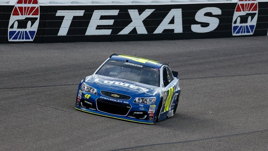 FORT WORTH, TEXAS - APRIL 07: Jimmie Johnson, driver of the #48 Lowe's Chevrolet, practices for the NASCAR Sprint Cup Series Duck Commander 500 at Texas Motor Speedway on April 7, 2016 in Fort Worth, Texas. (Photo by Jonathan Ferrey/Getty Images for Texas Motor Speedway)