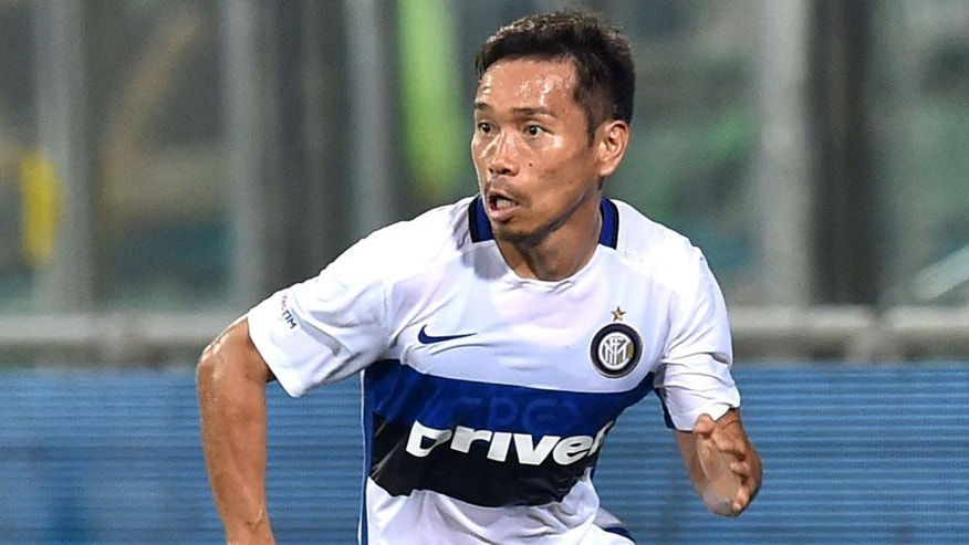 REGGIO NELL'EMILIA, ITALY - AUGUST 12: Yuto Nagatomo of FC Internazionale in action during the TIM pre-season tournament match between FC Internazionale and US Sassuolo Calcio at Mapei Stadium - Citt‡ del Tricolore on August 12, 2015 in Reggio nell'Emilia, Italy. (Photo by Giuseppe Bellini/Getty Images)
