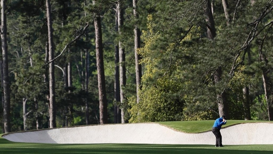 Ian Woosnam, of Wales, hits a shot on the second hole during the second round of the Masters golf tournament Friday, April 8, 2016, in Augusta, Ga. (AP Photo/David J. Phillip)