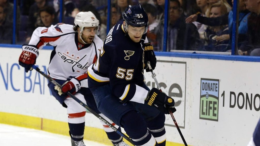 St. Louis Blues' Colton Parayko, right, controls the puck as Washington Capitals' Mike Richards pursues during the first period of an NHL hockey game Saturday, April 9, 2016, in St. Louis. (AP Photo/Jeff Roberson)
