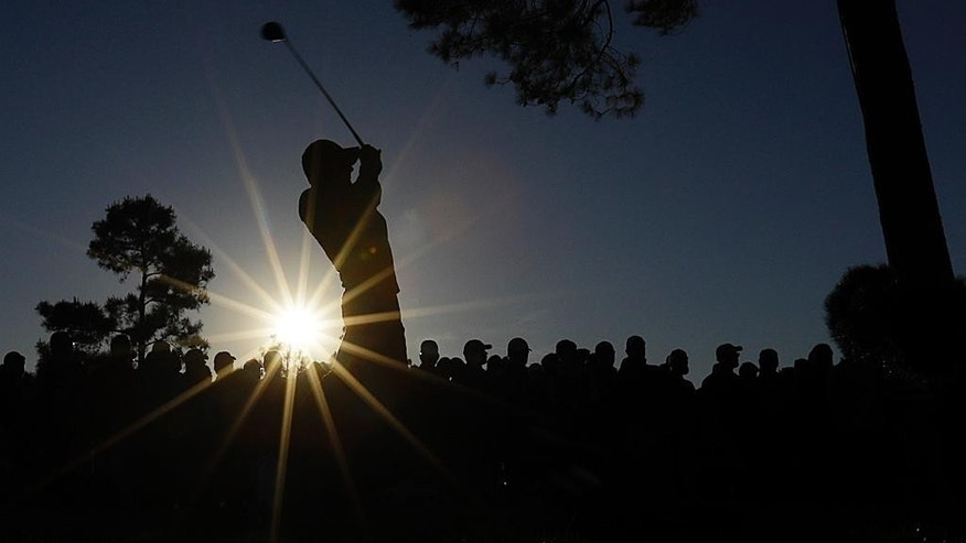 Jordan Spieth tees off on the 18th hole during the third round of the Masters golf tournament Saturday, April 9, 2016, in Augusta, Ga. (AP Photo/Matt Slocum)