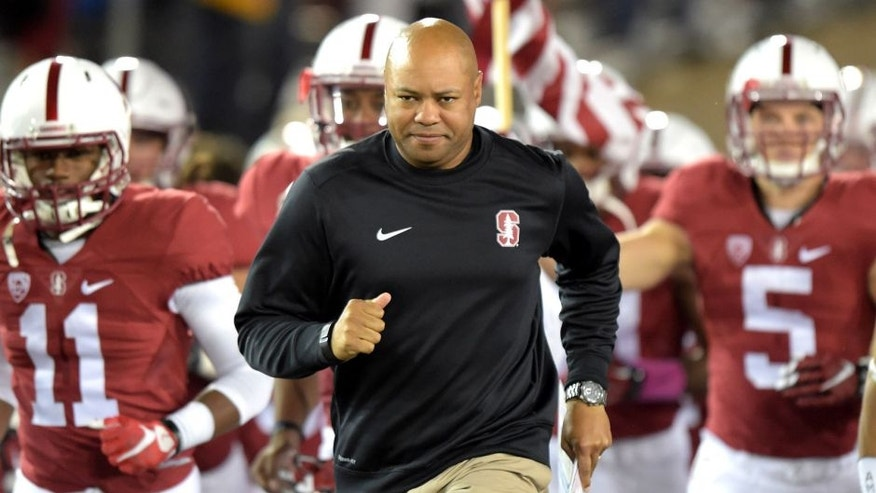 Oct 15, 2015; Stanford, CA, USA; Stanford Cardinal coach David Shaw leads players onto field before the NCAA football game against the UCLA Bruins at Stanford Stadium. Mandatory Credit: Kirby Lee-USA TODAY Sports