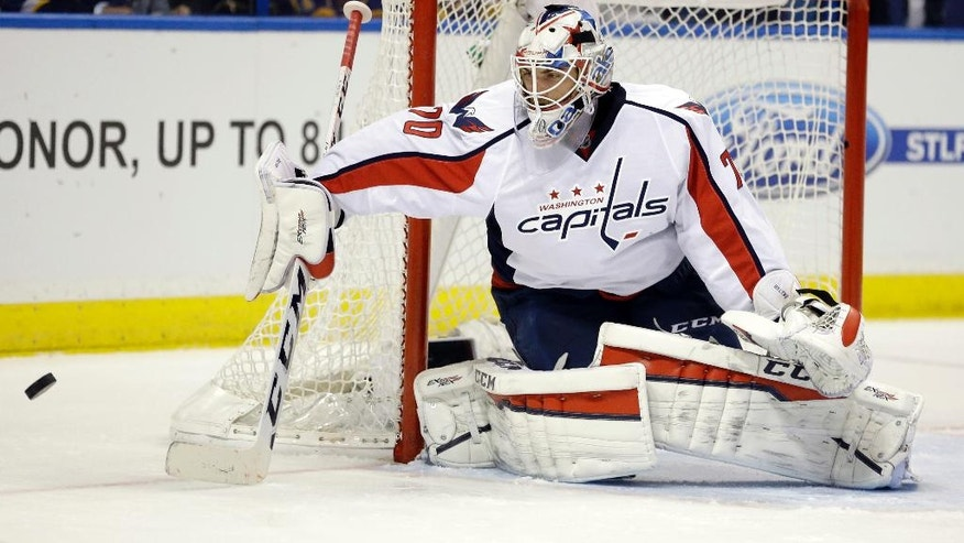 Washington Capitals goalie Braden Holtby defects the puck during the second period of an NHL hockey game against the St. Louis Blues, Saturday, April 9, 2016, in St. Louis. (AP Photo/Jeff Roberson)