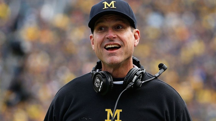 ANN ARBOR, MI - OCTOBER 17: Head coach Jim Harbaugh of the Michigan Wolverines reacts during the college football game against the Michigan State Spartans at Michigan Stadium on October 17, 2015 in Ann Arbor, Michigan. The Spartans defeated the Wolverines 27-23. (Photo by Christian Petersen/Getty Images)