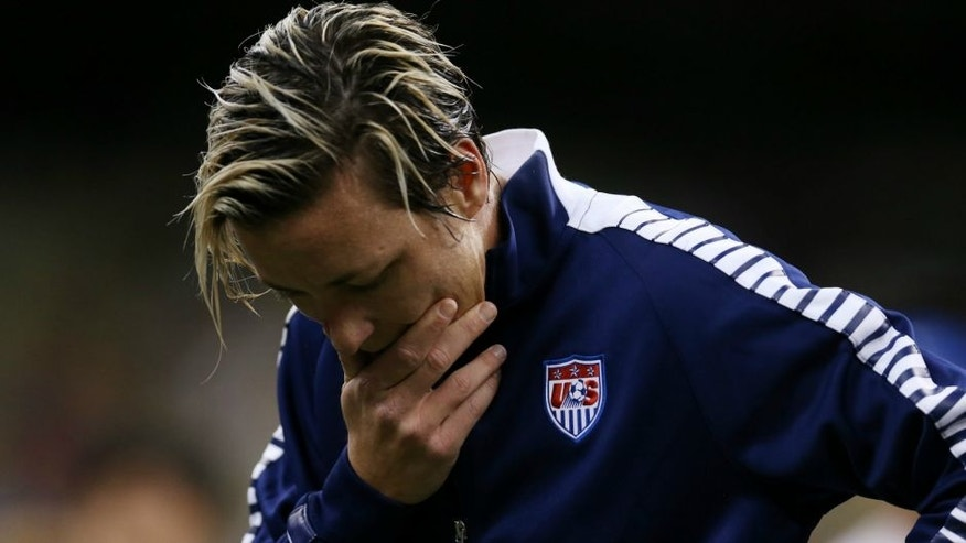 Abby Wambach #20 of the United States reacts as she is introduced prior to the women's soccer match against China at the Mercedes-Benz Superdome on December 16, 2015 in New Orleans, Louisiana. (Photo by Chris Graythen/Getty Images)