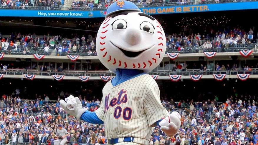<p>Apr 1, 2013; New York, NY, USA; Mr. Met tosses t-shirts into the stands during the seventh inning stretch of a MLB opening day game between the New York Mets and the San Diego Padres at Citi Field.  </p>