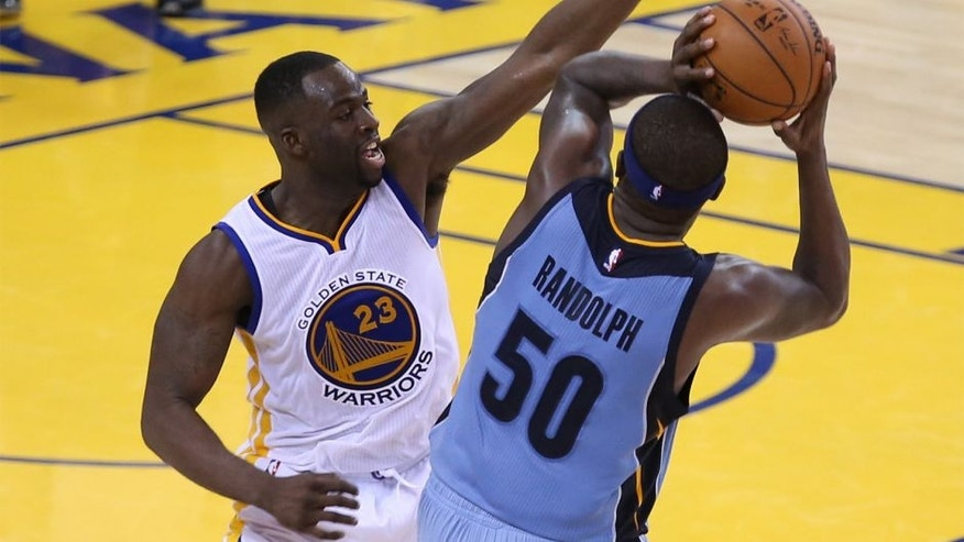 May 5, 2015; Oakland, CA, USA; Golden State Warriors forward Draymond Green (23) defends Memphis Grizzlies forward Zach Randolph (50) during the fourth quarter in game two of the second round of the NBA Playoffs at Oracle Arena. The Memphis Grizzlies defeated the Golden State Warriors 97-90. Mandatory Credit: Kelley L Cox-USA TODAY Sports