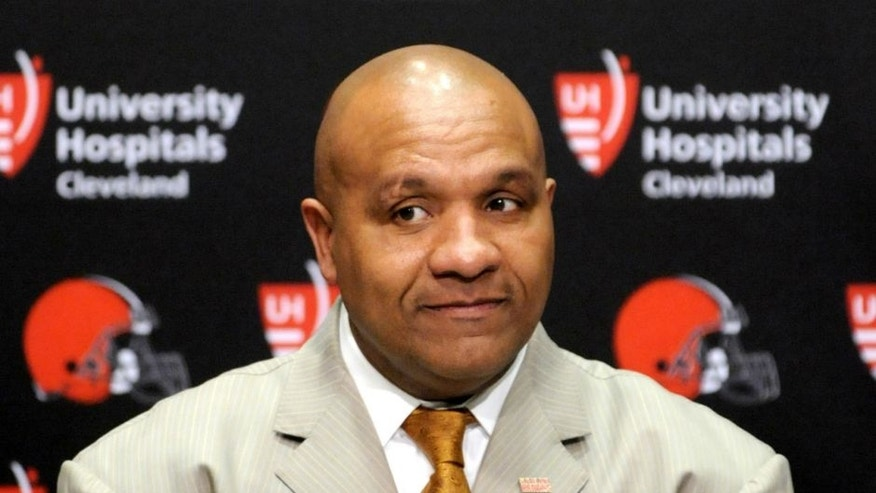 BEREA, OH - JANUARY 13, 2016: Head coach Hue Jackson of the Cleveland Browns listens to questions during an introductory press conference on January 13, 2016 at the Cleveland Browns training facility in Berea, Ohio. (Photo by Nick Cammett/Diamond Images/Getty Images) *** Local Caption *** Hue Jackson,BEREA, OH - JANUARY 13, 2016: Head coach Hue Jackson of the Cleveland Browns listens to questions during an introductory press conference on January 13, 2016 at the Cleveland Browns training facility in Berea, Ohio. (Photo by Nick Cammett/Diamond Images/Getty Images)