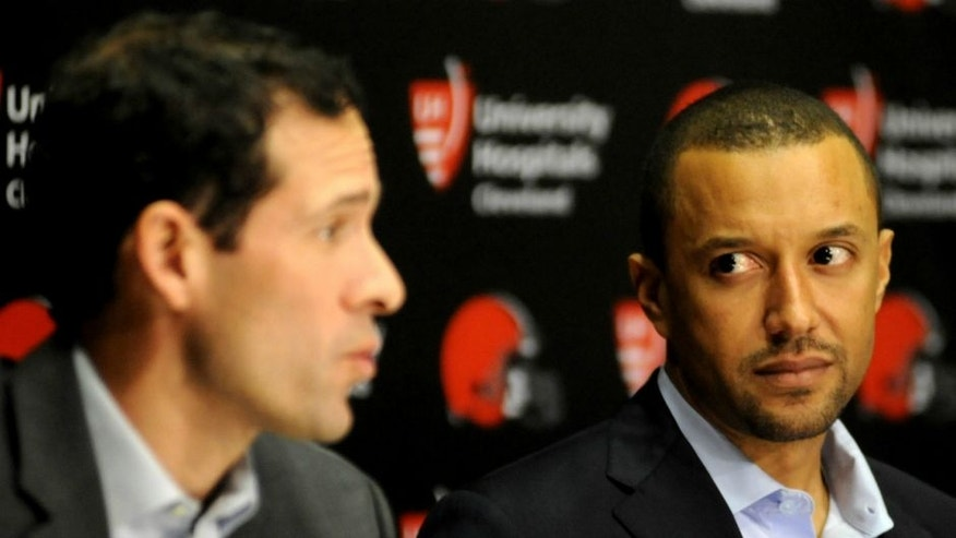 BEREA, OH - JANUARY 21, 2016: Executive vice president of football operations Sashi Brown of the Cleveland Browns listens during an introductory press conference on January 21, 2016 at the Cleveland Browns training facility in Berea, Ohio. (Photo by Nick Cammett/Diamond Images/Getty Images) *** Local Caption *** Sashi Brown,BEREA, OH - JANUARY 21, 2016: Executive vice president of football operations Sashi Brown of the Cleveland Browns listens during an introductory press conference on January 21, 2016 at the Cleveland Browns training facility in Berea, Ohio. (Photo by Nick Cammett/Diamond Images/Getty Images)
