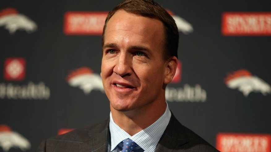 ENGLEWOOD, CO - MARCH 07: Quarterback Peyton Manning addresses the media as he announces his retirement from the NFL at the UCHealth Training Center on March 7, 2016 in Englewood, Colorado. Manning, who played for both the Indianapolis Colts and Denver Broncos in a career which spanned 18 years, is the NFL's all-time leader in passing touchdowns (539), passing yards (71,940) and tied for regular season QB wins (186). Manning played his final game last month as the winning quarterback in Super Bowl 50 in which the Broncos defeated the Carolina Panthers, earning Manning his second Super Bowl title. (Photo by Doug Pensinger/Getty Images)