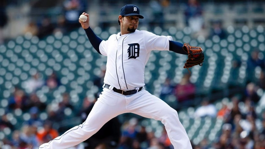 Apr 12, 2016; Detroit, MI, USA; Detroit Tigers starting pitcher Anibal Sanchez (19) pitches in the first inning against the Pittsburgh Pirates at Comerica Park. Mandatory Credit: Rick Osentoski-USA TODAY Sports