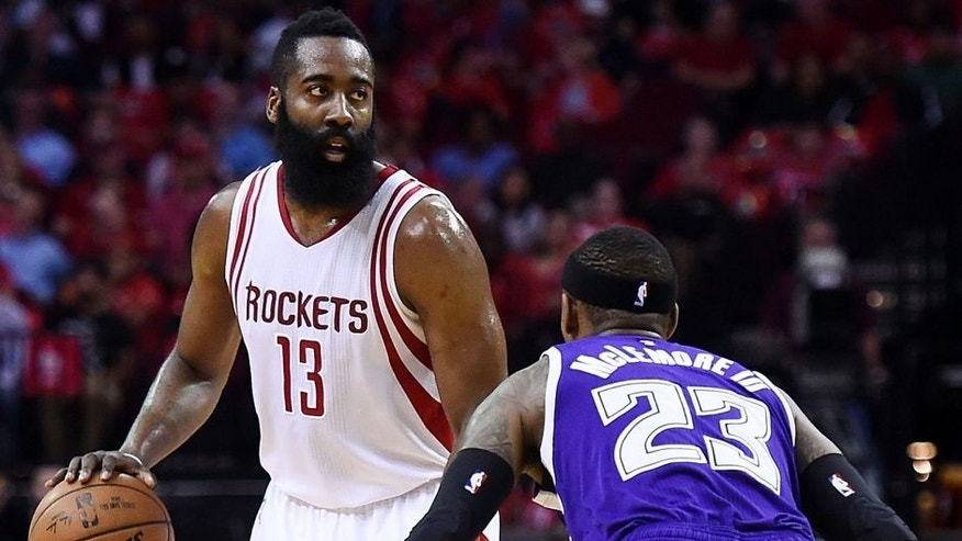 <p>HOUSTON, TEXAS - APRIL 13: James Harden #13 of the Houston Rockets works against Ben McLemore #23 of the Sacramento Kings during the first half of a game at the Toyota Center on April 13, 2016 in Houston, Texas. NOTE TO USER: User expressly acknowledges and agrees that, by downloading and or using this photograph, User is consenting to the terms and conditions of the Getty Images License Agreement. (Photo by Stacy Revere/Getty Images)</p>