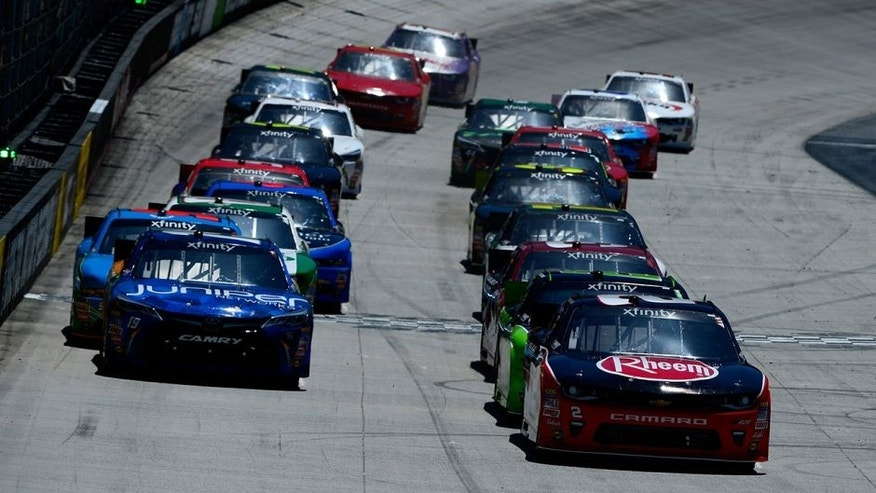 BRISTOL, TN - APRIL 16: Austin Dillon, driver of the #2 Rheem Chevrolet, leads the starting grid during the NASCAR XFINITY Series Fitzgerald Glider Kits 300 Heat #2 at Bristol Motor Speedway on April 16, 2016 in Bristol, Tennessee. (Photo by Robert Laberge/Getty Images)