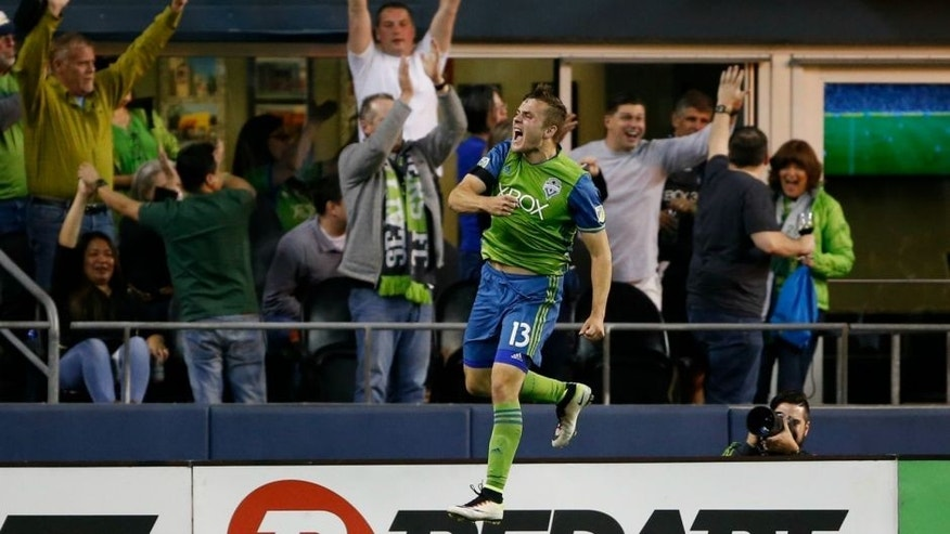 Apr 16, 2016; Seattle, WA, USA; Seattle Sounders forward Jordan Morris (13) leaps up after scoring against the Philadelphia Union during the second half at CenturyLink Field. Seattle won 2-1. Mandatory Credit: Jennifer Buchanan-USA TODAY Sports