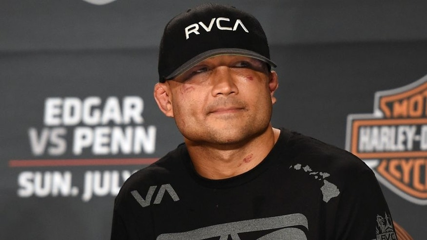 LAS VEGAS, NV - JULY 6: BJ Penn speaks during the Ultimate Fighter Finale post fight press conference inside the Mandalay Bay Events Center on July 6, 2014 in Las Vegas, Nevada. (Photo by Jeff Bottari/Zuffa LLC/Zuffa LLC via Getty Images) *** Local Caption *** BJ Penn